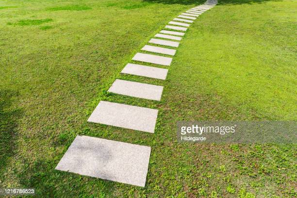 stone road in the grass - paving stone stock pictures, royalty-free photos & images