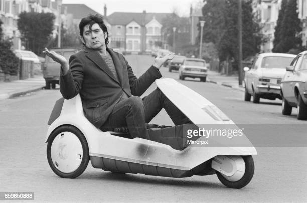 15 stone Roy Stuart of Ilford Essex owner of a C5 can only get six miles out of his because of his size Picture taken 10th March 1985