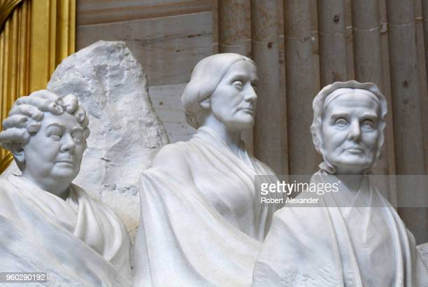 A stone sculpture by Adelaide Johnson in the Rotunda of the US Capitol in Washington DC honors pioneers for women's suffrage Depicted from left are...