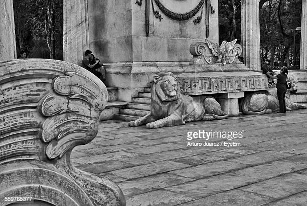 Stone Sculptures Of Lion And Eagle
