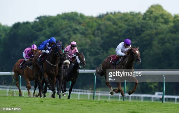 Stone Soldier ridden by Andrea Atzeni coming home to win the Follow RacingTV On Twitter Handicap at Haydock Park Racecourse at Haydock Park...