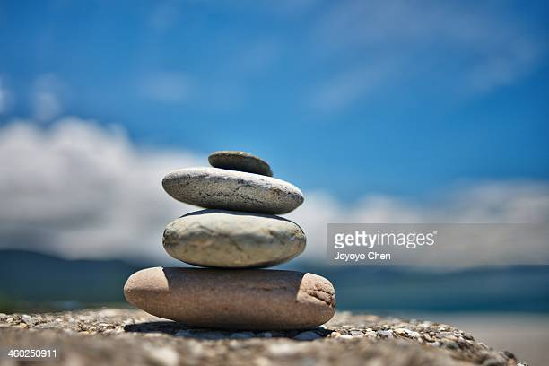 Stone stack and blue sky