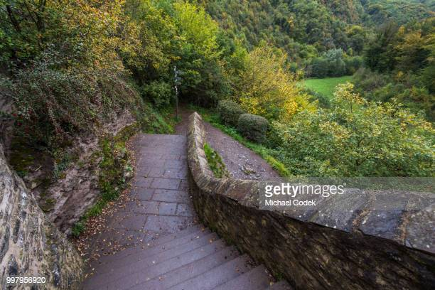 stone staircase leading to path through wooded hills - ラインラント=プファルツ州 ストックフォトと画像