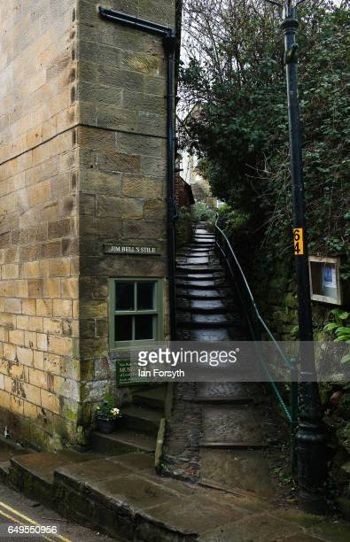A stone stairway climbs between homes in Robin Hood's Bay on the North Yorkshire coast on March 8 2017 in Robin Hood's Bay United Kingdom Robin...