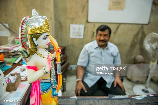 Stone statue of Lord Rama carved with elegance and aesthetic beauty is seen at the workshop. Lord Rama is one of the most adored god and hero of the...