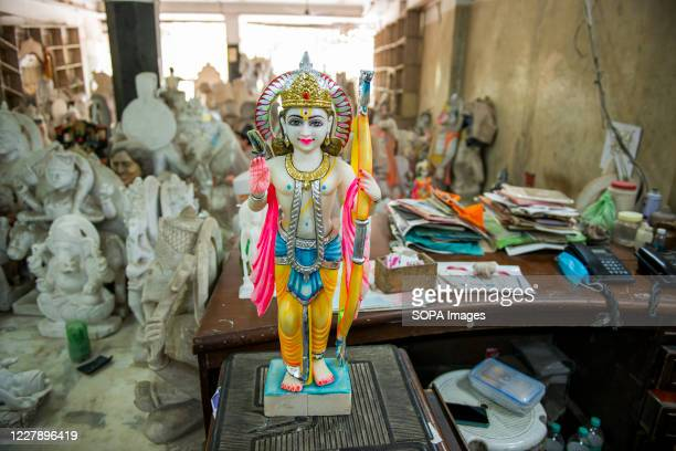 Stone statue of Lord Rama carved with elegance and aesthetic beauty is seen at the workshop . Lord Rama is one of the most adored god and hero of the...