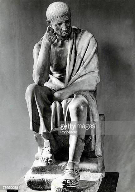 A stone statue of the famous Greek philosopher Aristotle who taught Alexander the Great The statue stands in the Palace Spada Rome Italy