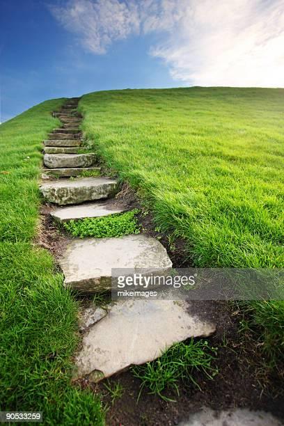 Stone step pathway to sky