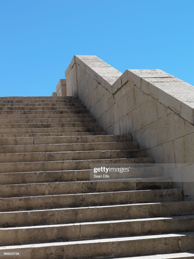 stone steps leading up to blue sky : Stock Photo