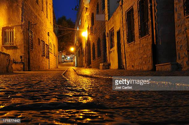 stone street in safed, israel - safed stock photos and pictures