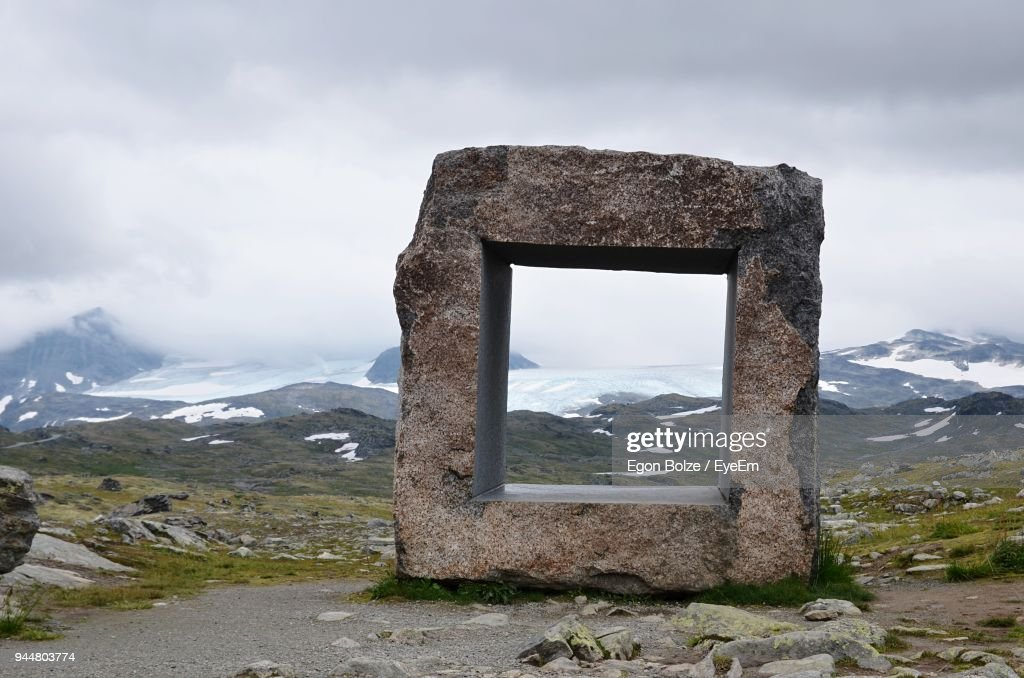 Stone Structure Against Mountains : Stock Photo
