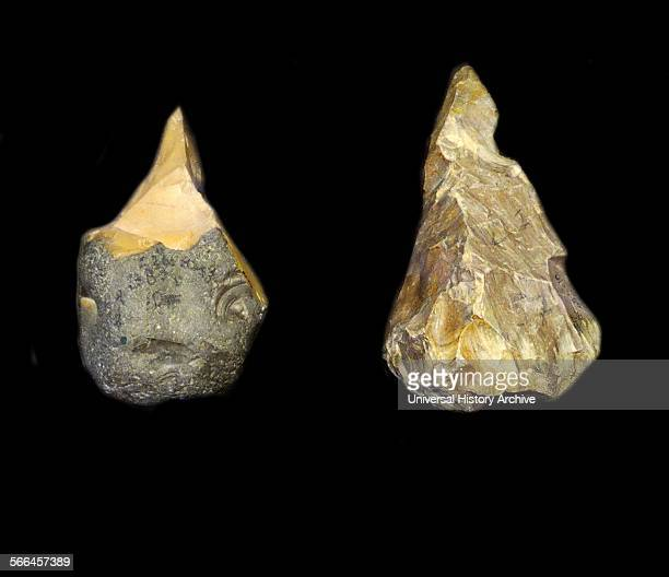 Stone tools including chopping tools handaxes picks and spheroids from the Acheulean industry Acheulean refers to an archaeological industry of stone...