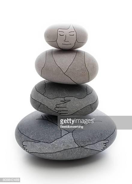 stone tower lotus woman - chakra bildbanksfoton och bilder