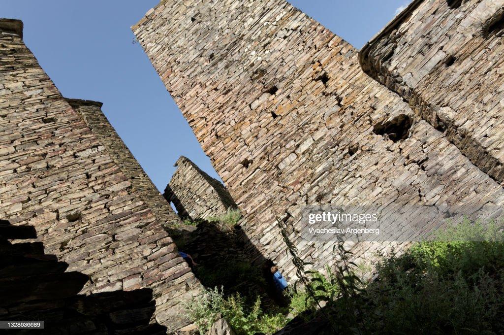 Stone towers in Shatili, Georgia : Stock Photo