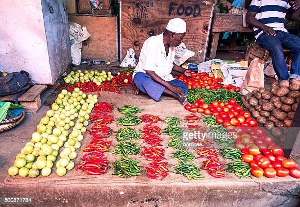 stone town market - zanzibar stock photos and pictures