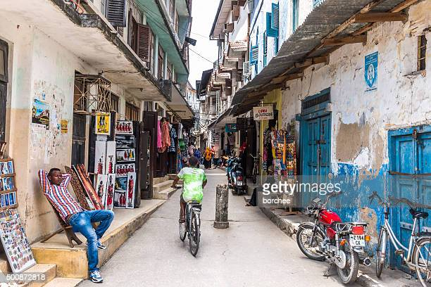 stone town streets - zanzibar island stock photos and pictures