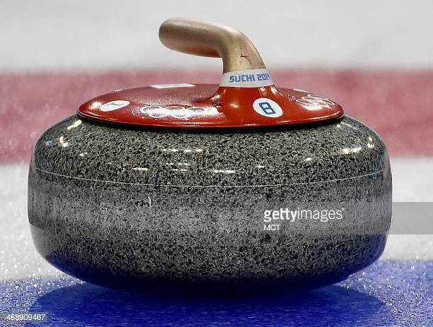 A stone used by the USA's curling team during women's curling competition at the Ice Cube Curling Centre during the Winter Olympics in Sochi Russia...