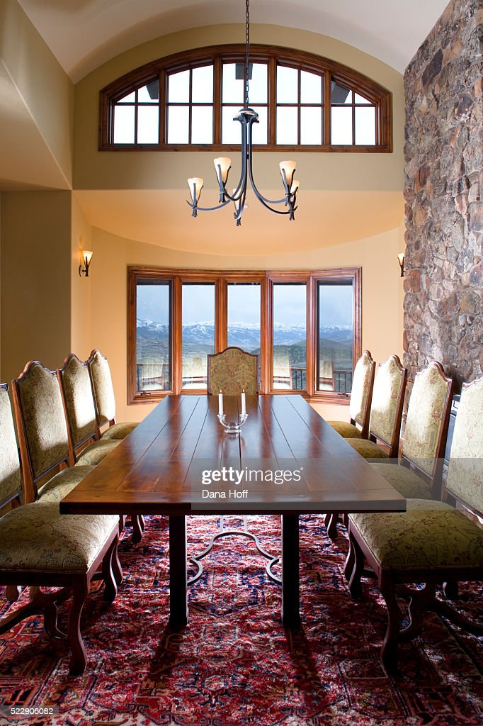 Stone Wall In Dining Room With Barrel Vaulted Ceiling Stock