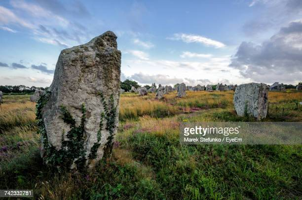 stone wall on field against sky - marek stefunko stock pictures, royalty-free photos & images