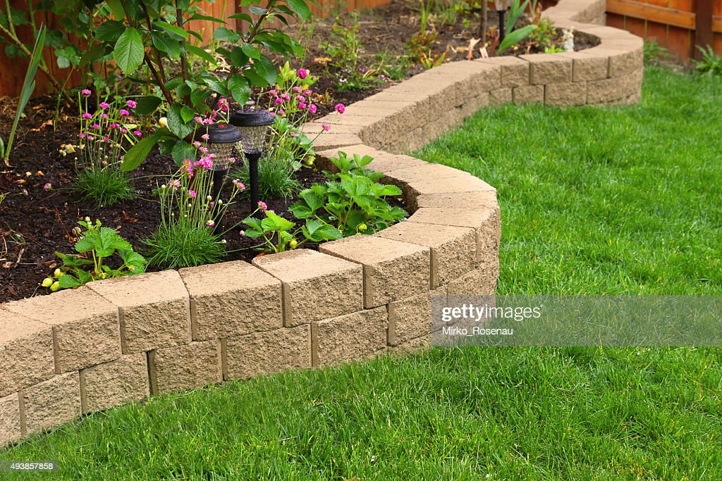 Stone Wall With Perfect Grass Landscaping In Garden With Artificial Grass  ...