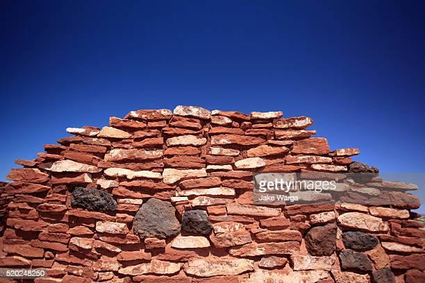 stone wall, wupatki national monument - jake warga stock photos and pictures