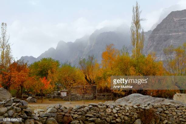 stone walled village surrounded with autumn trees and high mountains. - skardu stock pictures, royalty-free photos & images
