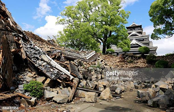 Stone walls and buildings are damaged during a press tour at Kumamoto Castle on May 11 2016 in Kumamoto Japan The castle constructed by feudal...