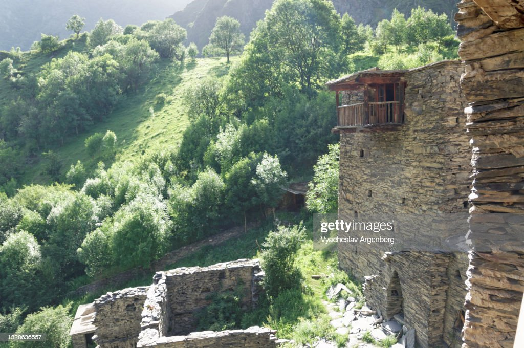 Stone walls of the old houses of Shatili, Khevsureti, Georgia : ストックフォト