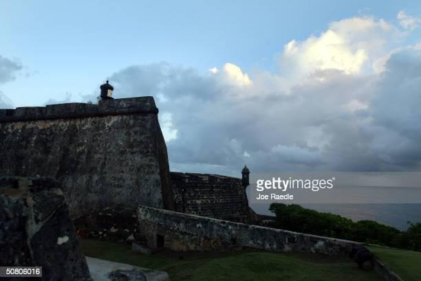 Stone walls surround the Castillo de San Felipe del Morro April 26 2004 in Old San Juan the original capital city of San Juan Puerto Rico Begun in...