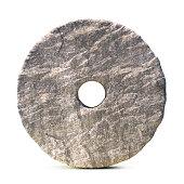 Stone wheel isolated on white background