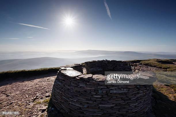 Stone windbreak on mountain top