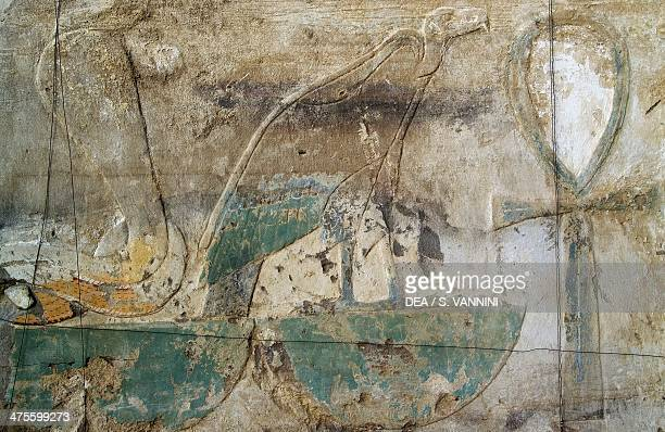 Stone with drawings depicting a snake a bird of prey and the ankh cross excavation area behind Mortuary Temple of Hatshepsut Deir elBahari Theban...
