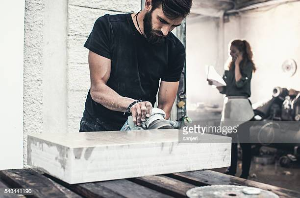 Stonecutter at his workshop