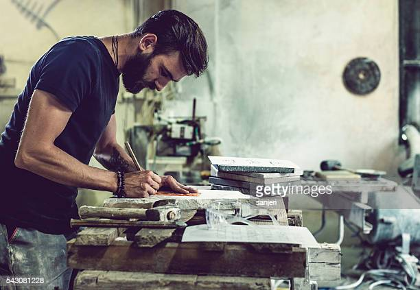 Stonecutter portrait at work