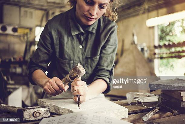 Stonecutter woman portrait