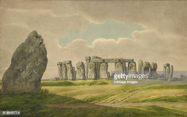 Stonehenge from the NE showing ruins and heel stone with cart horse person 18241839