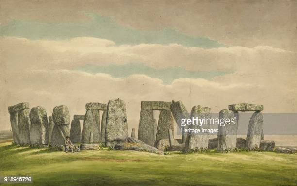 Stonehenge from the NW showing ruins with man and dog 18241839