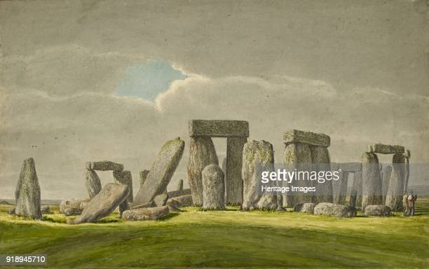 Stonehenge from the SE showing stones in ruined state with 2 visitors 18241839