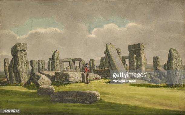 Stonehenge from the WSW showing ruins with soldier 18241839