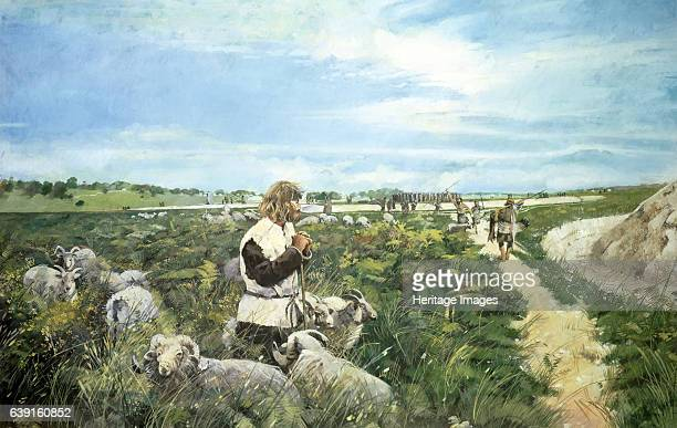 Stonehenge landscape c2500BC Wiltshire Livestock farming and Blue Stones in the distance shortly after 2500 BC The Stonehenge bluestones are of...