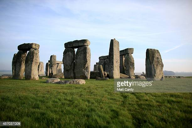 Stonehenge monument is seen on December 11 2013 in Wiltshire England English Heritage will be unveiling the new multimillion pound visitor centre at...