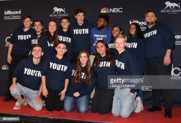 Stoneman Douglas choir from Stoneman Douglas High School poses in the Press Room during the 2018 Billboard Music Awards 2018 at the MGM Grand Resort...