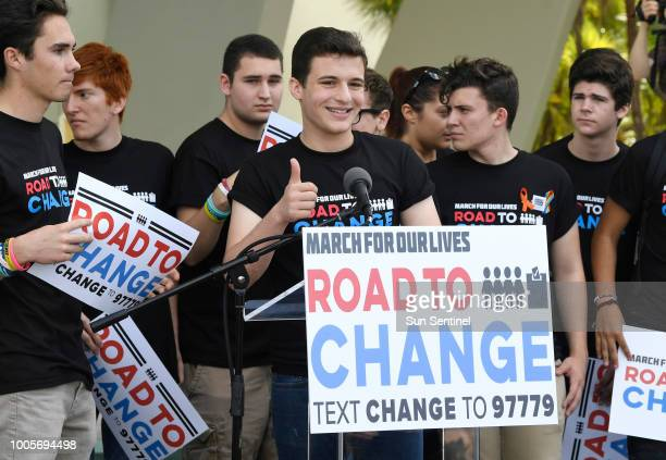 Stoneman Douglas student Cameron Kasky center gives a thumbs up after announcing on Monday June 4 2018 in Parkland Fla that this summer the students...