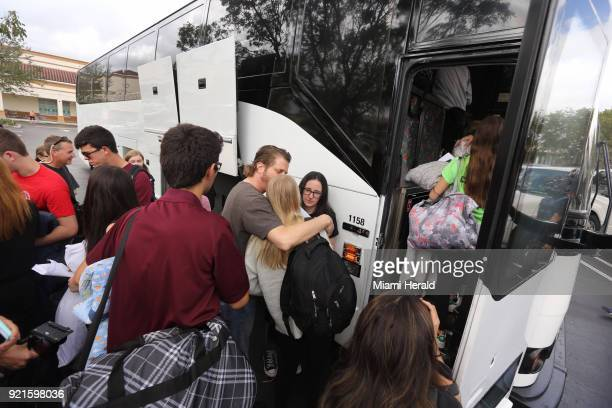 Stoneman Douglas students wait to board buses to Tallahassee Fla heading to the Florida Capitol to advocate for gun control on Tuesday February 20...