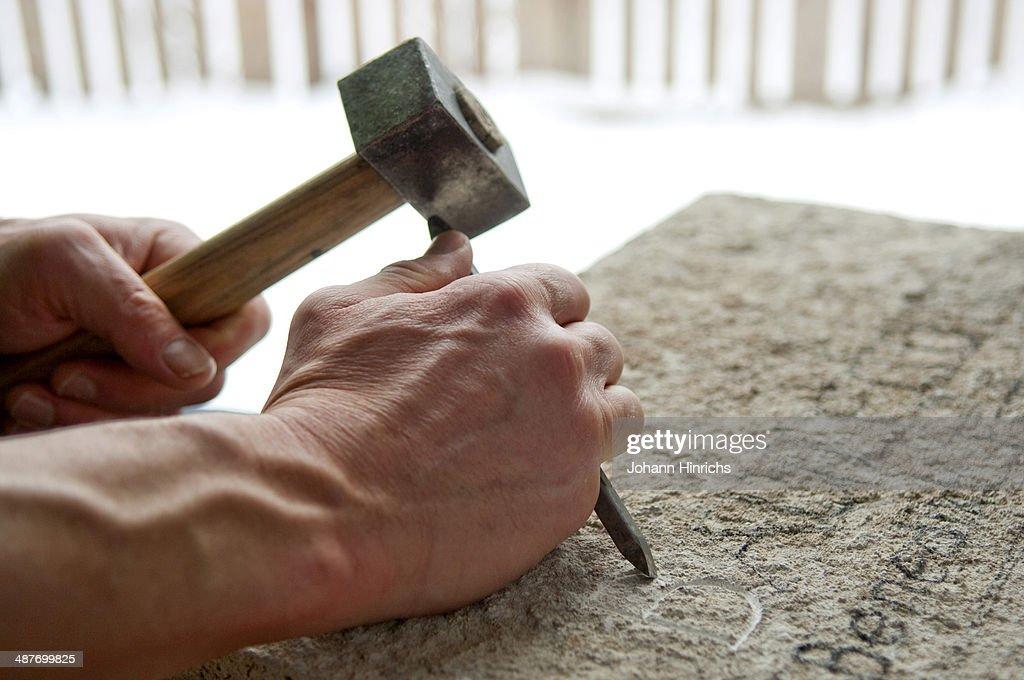 Stonemason at work : Stock Photo
