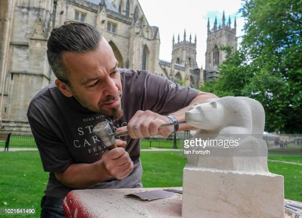 Stonemason Paul Hill works on his design of a wasp as he takes part in a stone carving festival at York Minster on August 19 2018 in York England...