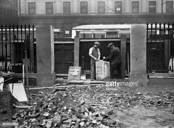Stonemasons at work in Manchester 15th March 1932