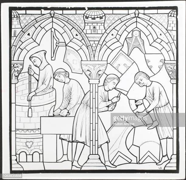 Stonemasons at work shaping stone From 13th century stained glass window in the cathedral of Notre Dame de Chartres Chartres France