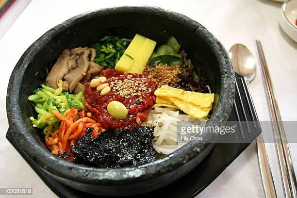 stone-pot bibimbap - jeonju stock photos and pictures