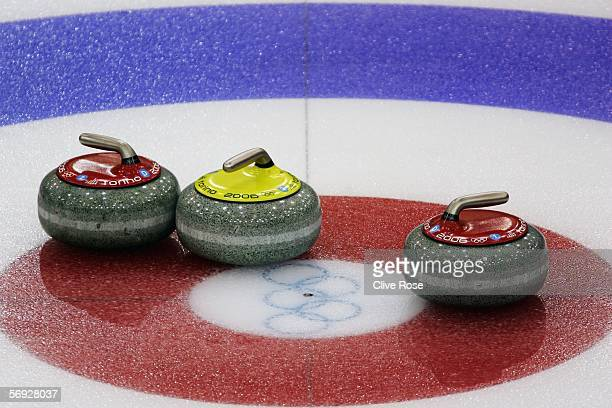 Stones are seen during the Gold medal match of the men's curling between United States and Great Britain during Day 14 of the Turin 2006 Winter...